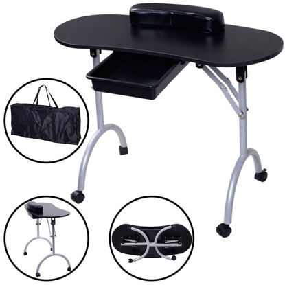 Picture of Portable Nail Manicure Station Table Salon Equipment Black