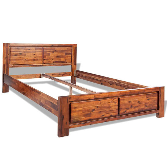 Picture of Queen Size Bed Frame Solid Acacia Wood - Brown