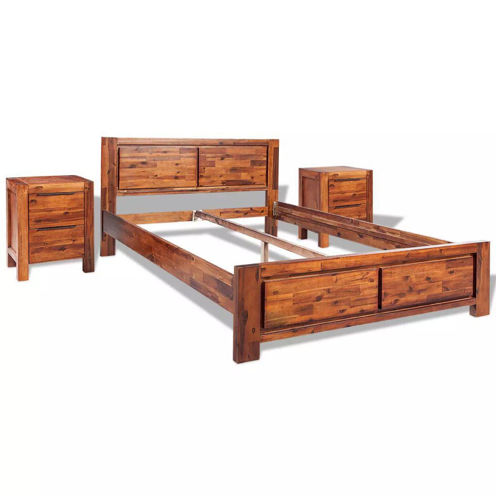 Picture of Queen Size Bed with Nightstands - Solid Acacia Wood - Brown