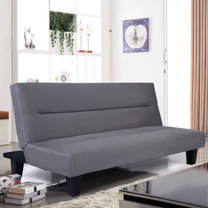 "Picture of Recliner Lounger Microfiber Futon Folding Couch Sofa Bed 6"" Mattress Sleep Gray"