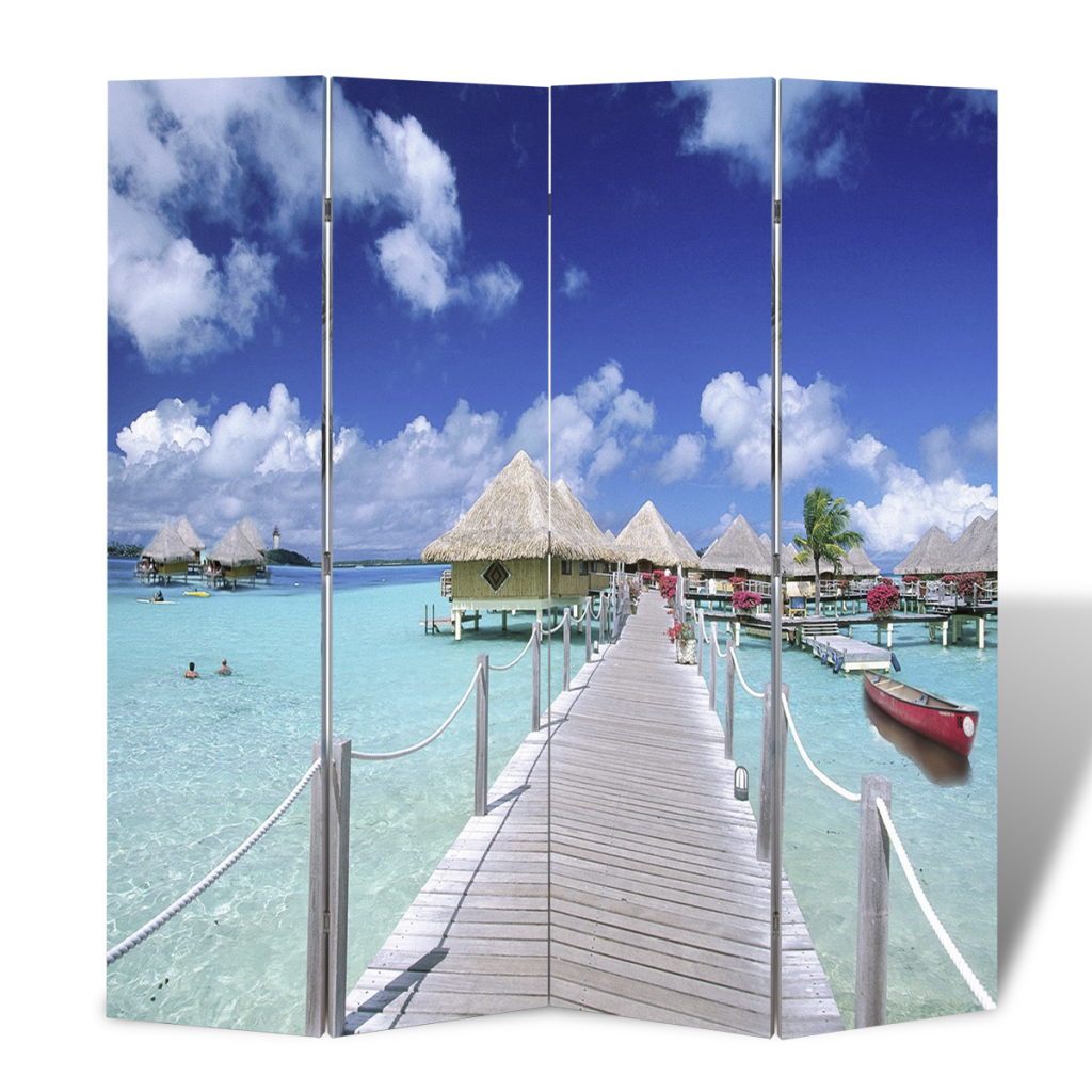 Picture of Room Divider Folding Double Sided Screen Beach Print 63 x 70 inch - 4-Panel