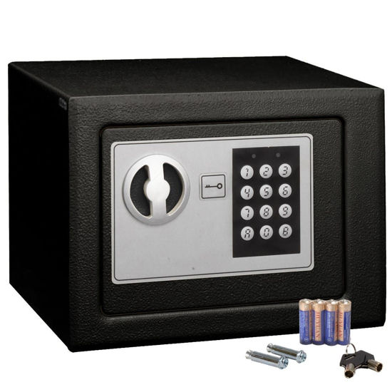 Picture of Safe Box Small Digital Electronic Keypad with Lock for Home Office Hotel Gun Black