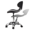 Picture of Salon Spa Stool with Backrest Curved Design - Black