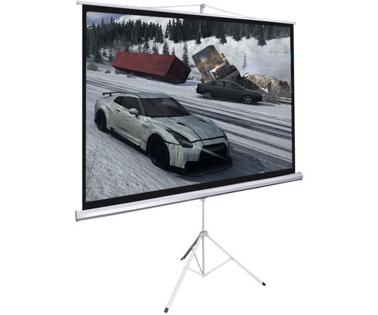"Picture of Screen Projector Portable 100"" 16:9 Projection Tripod Pull-up Matte White"