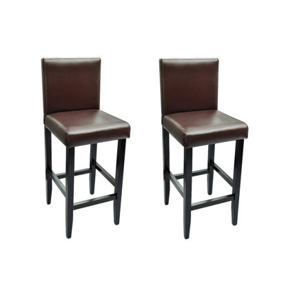 Picture of Set of 2 Modern Brown Artificial Leather Bar Stool