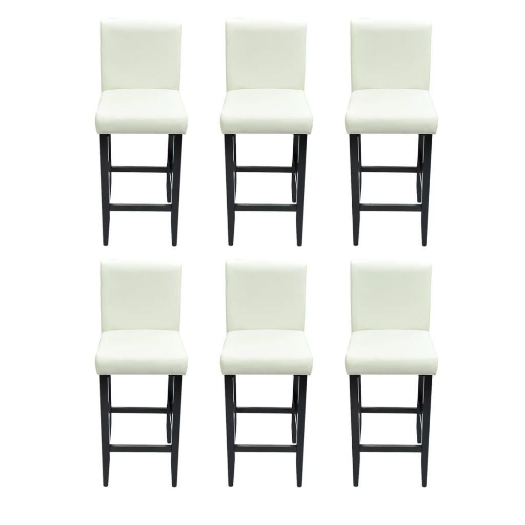 Picture of Set of 6 Modern White Artificial Leather Bar Stools