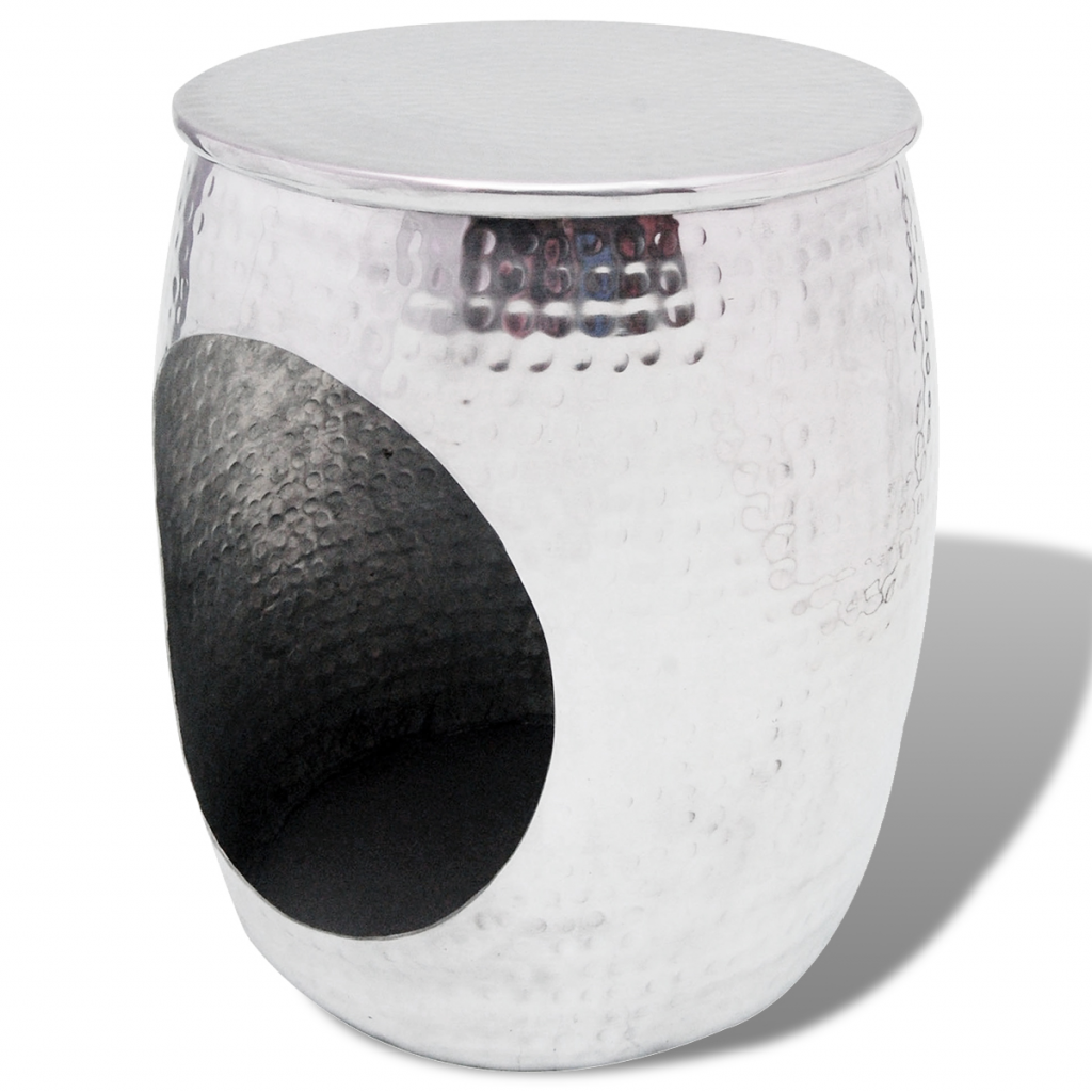Picture of Side Table / Hocker Barrel Shape - Aluminum Silver