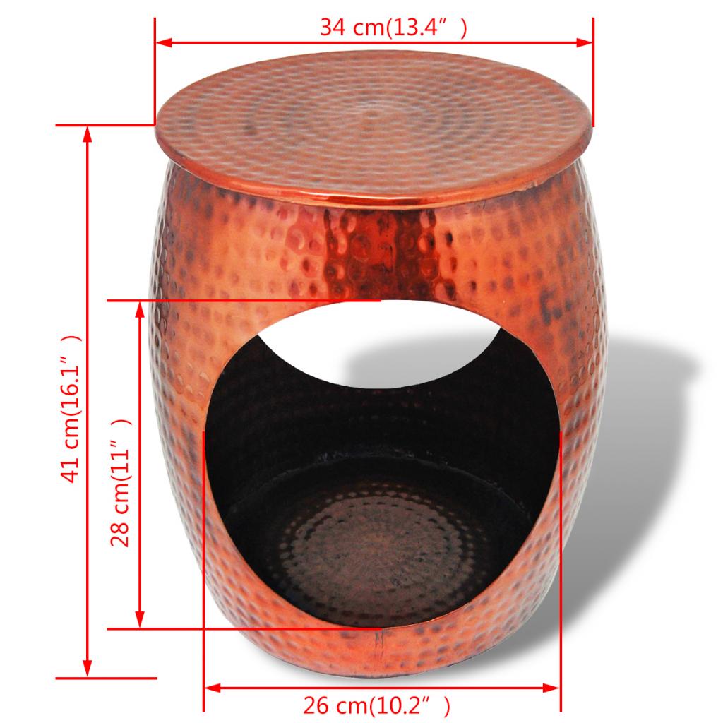 Picture of Side Table / Hocker Barrel Shape - Copper Brown