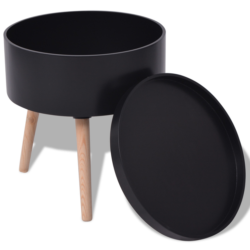 """Picture of Side Table with Serving Tray Round 15.6""""x17.5"""" Black"""