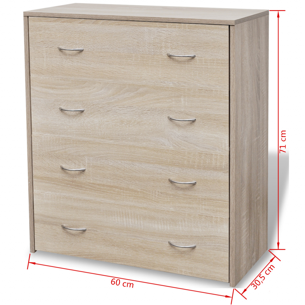 """Picture of Sideboard with 4 Drawers 23"""" - Oak"""