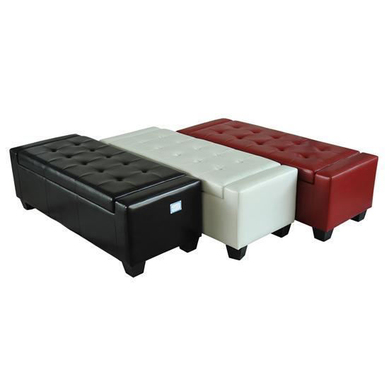 Picture of Living Room Shoe Bench Ottoman - White