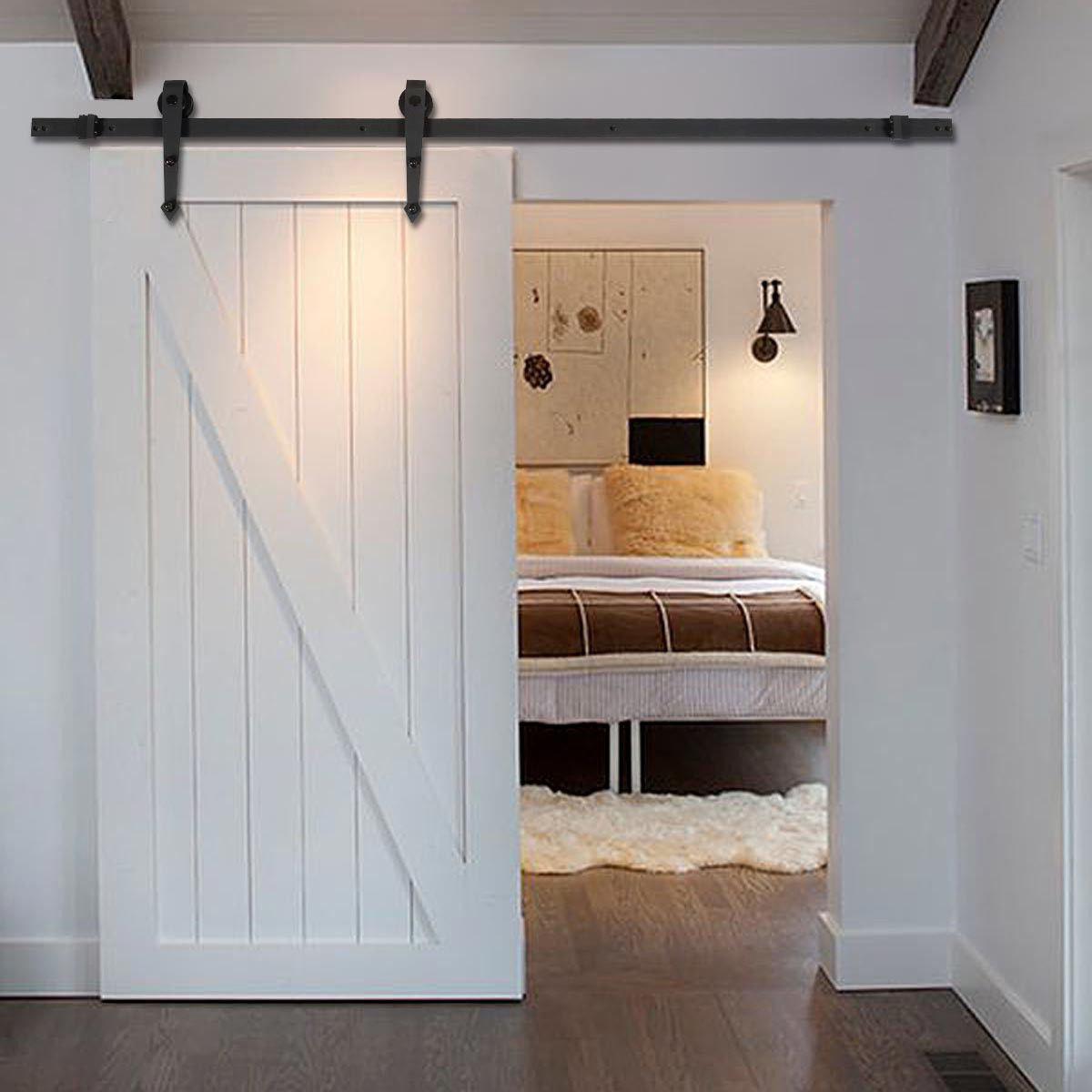 Picture of Sliding Barn Wood Door Hardware Modern Antique Style 6 FT Black