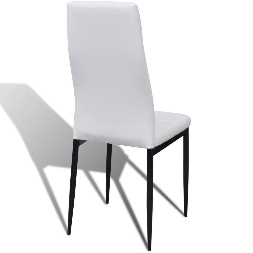 Picture of Slim Line Dining Chairs 6 pcs Artificial Leather White