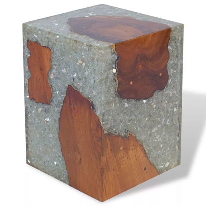 "Picture of Stool Teak Resin 11.8""x11.8""x15.7"""