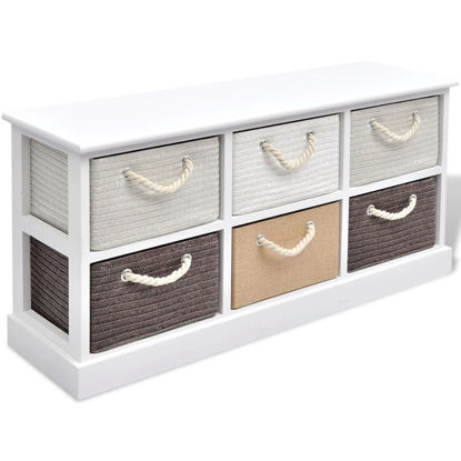 Picture of Storage Bench 6 Drawers Wood