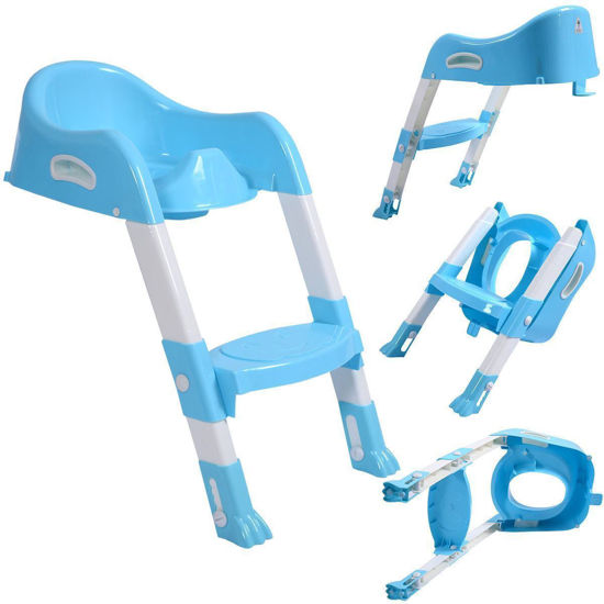 Picture of Toilet Potty Trainer Seat Chair with Ladder Step Up Stool for Toddler Blue