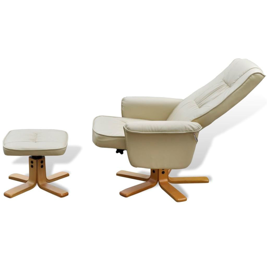 Picture of TV Armchair Recliner Artificial Leather Cream White with Footrest