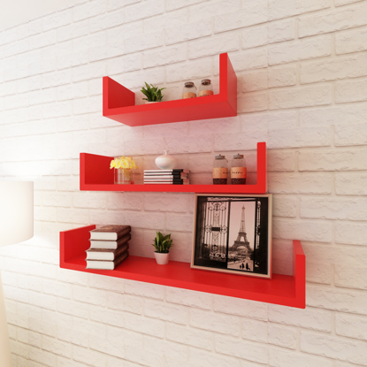 Picture of U-Shaped Floating Wall Display Shelves - 3 pcs Red