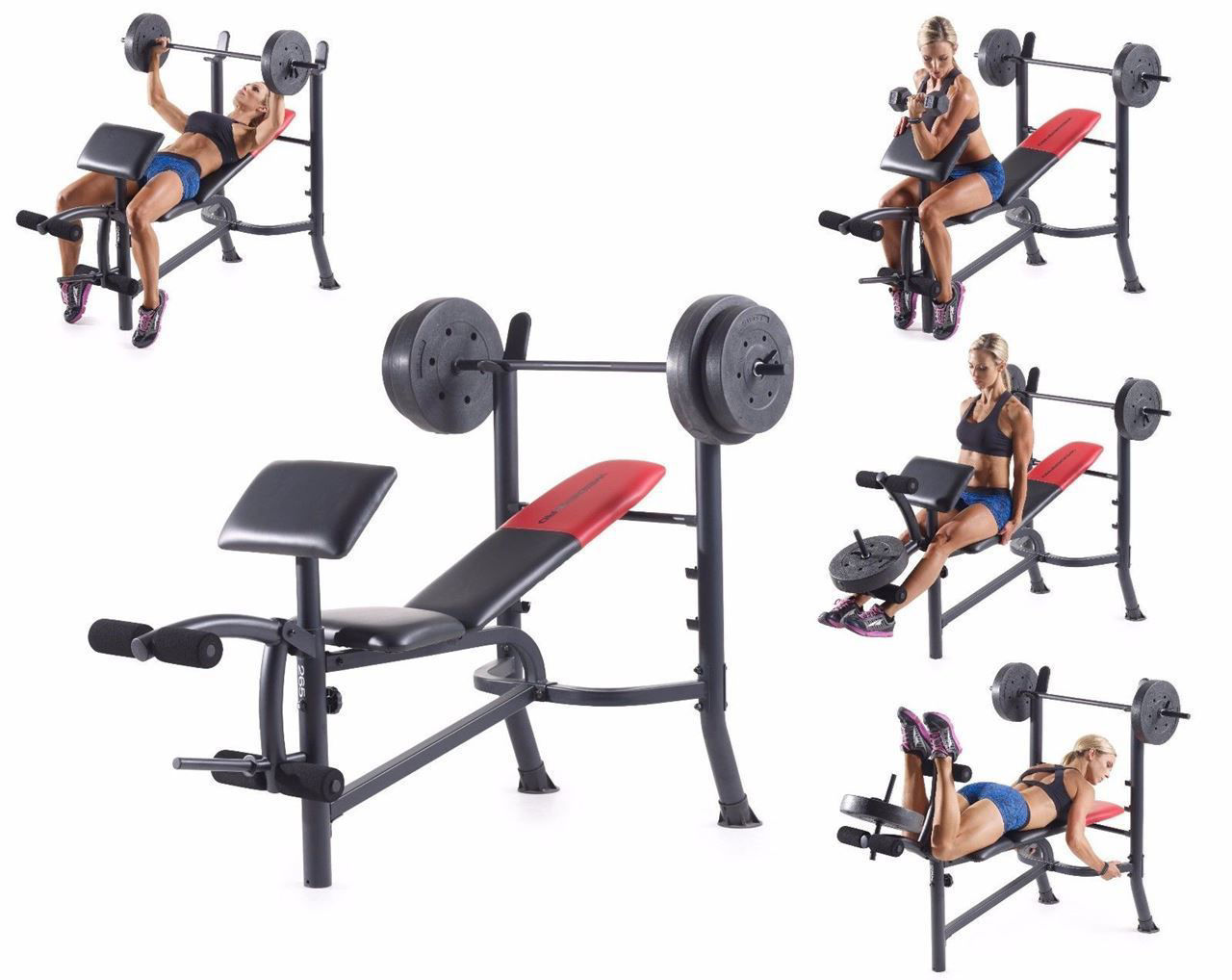 Picture of Weight Bench with  80 lb Weight Set Workout Exercise Lifting Press