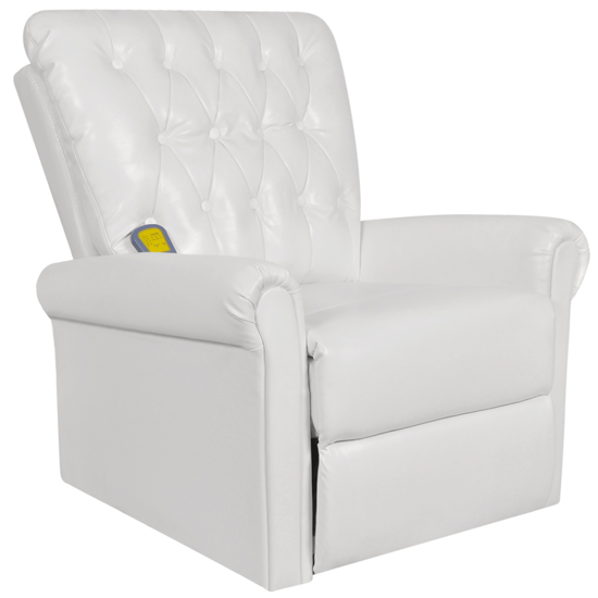 Picture of White Electric Artificial Leather Recliner Massage Chair