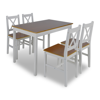 Picture of Wooden Table with 4 Wooden Chairs Furniture Set - Brown