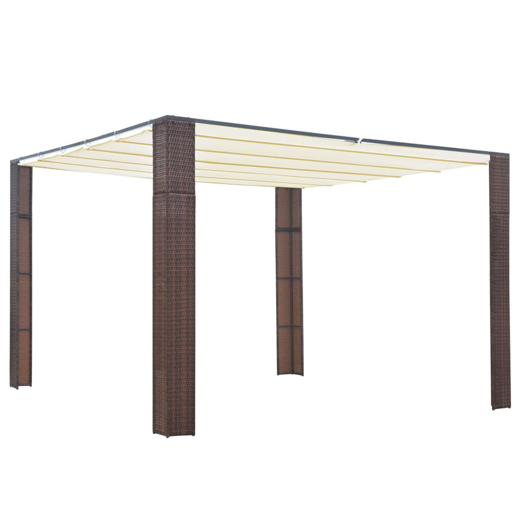 Picture of Outdoor Rattan Roof Gazebo Tent - Brown and Cream