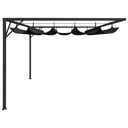 Picture of Outdoor Wall Gazebo Canopy with Retractable Roof - Anthracite