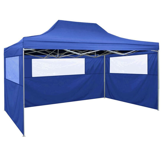 Picture of Outdoor Steel Gazebo Folding Party Tent with 3 Sidewalls - Blue