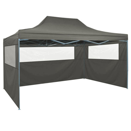 Picture of Outdoor Steel Gazebo Folding Party Tent with 3 Sidewalls - Anthracite