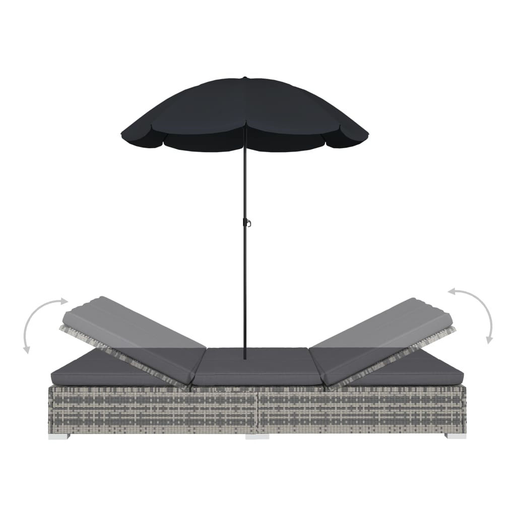 Picture of Outdoor SunBed with Umbrella - Gray