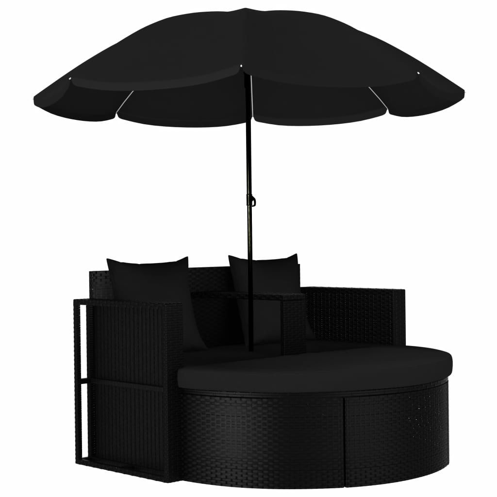 Picture of Outdoor SunBed with Umbrella - Black