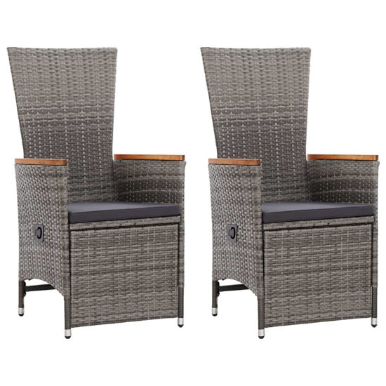 Picture of Outdoor Patio Reclining Chairs - 2 pcs Gray