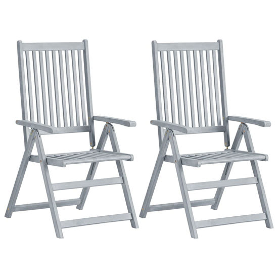 Picture of Outdoor Reclining Chairs - 2 pcs Gray