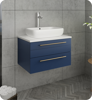 """Picture of Lucera 24"""" Royal Blue Wall Hung Modern Bathroom Cabinet w/ Top & Vessel Sink"""