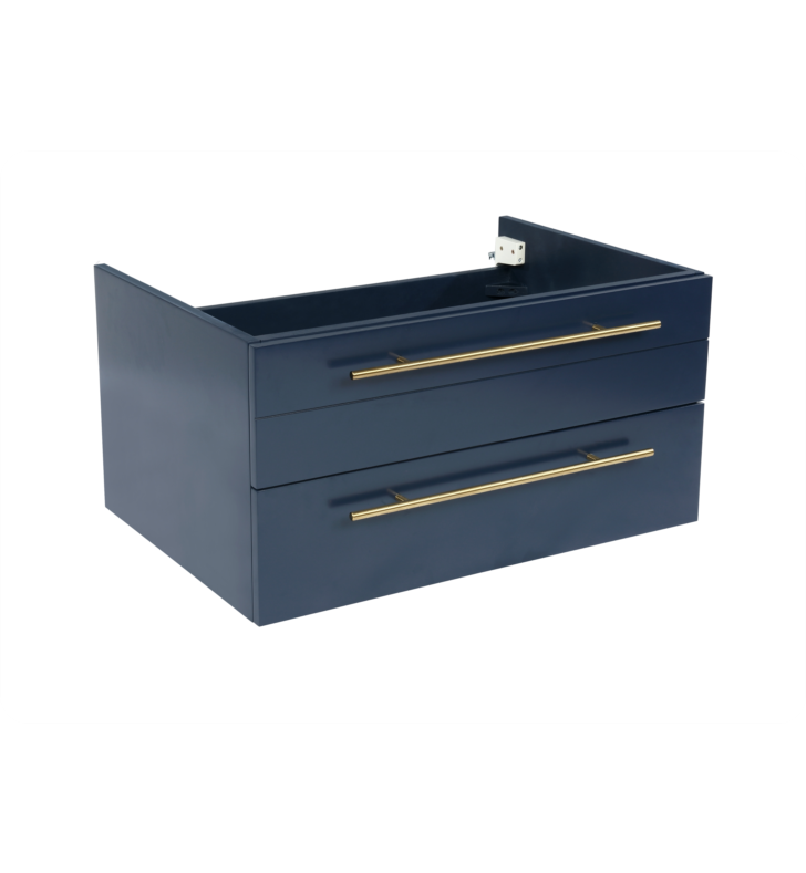"""Picture of Lucera 30"""" Royal Blue Wall Hung Undermount Sink Modern Bathroom Cabinet"""