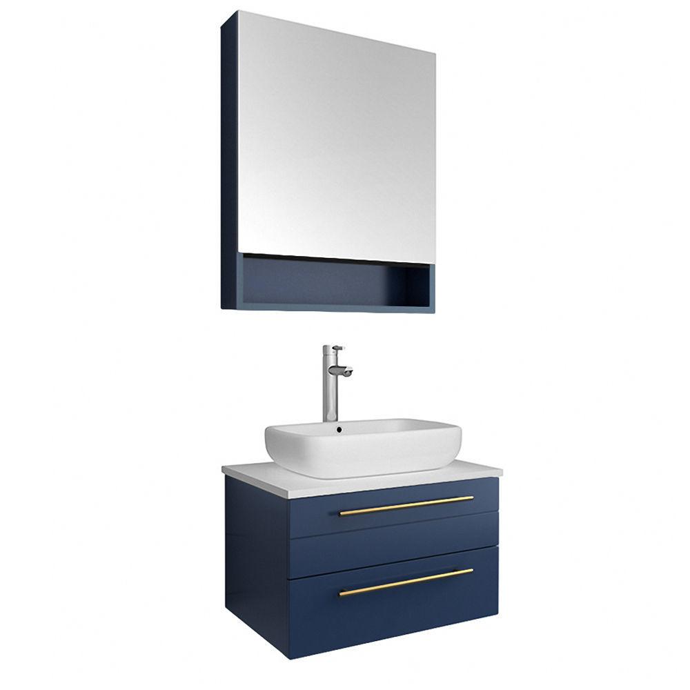 "Picture of Lucera 24"" Royal Blue Wall Hung Vessel Sink Modern Bathroom Vanity w/ Medicine Cabinet"