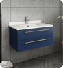 """Picture of Lucera 30"""" Royal Blue Wall Hung Undermount Sink Modern Bathroom Vanity w/ Medicine Cabinet"""