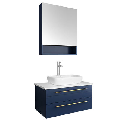 "Picture of Lucera 30"" Royal Blue Wall Hung Vessel Sink Modern Bathroom Vanity w/ Medicine Cabinet"