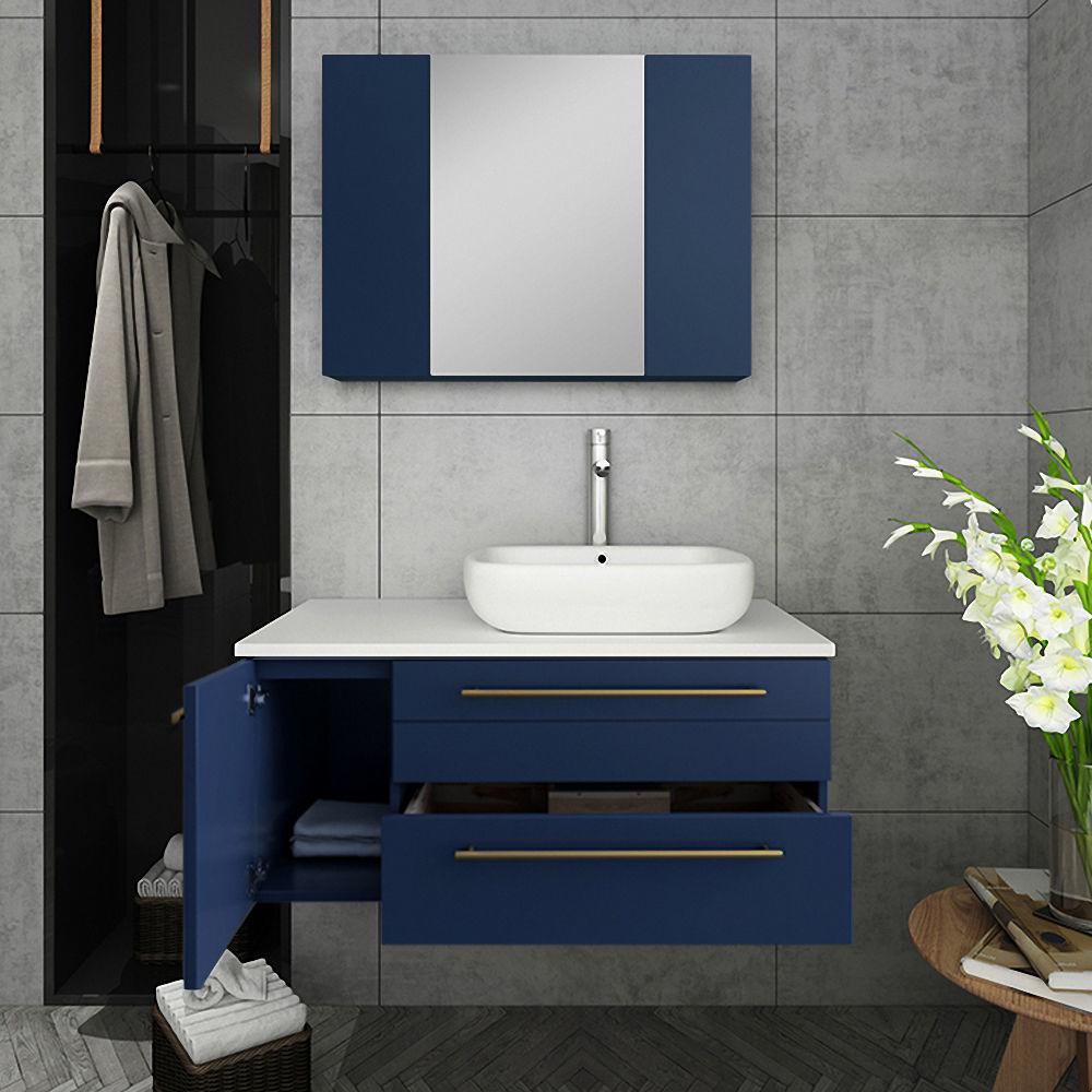 "Picture of Lucera 36"" Royal Blue Wall Hung Vessel Sink Modern Bathroom Vanity w/ Medicine Cabinet - Right Version"