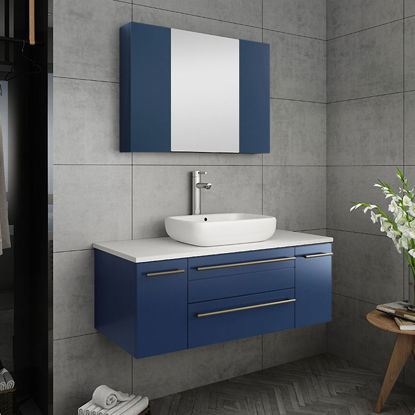 "Picture of Lucera 42"" Royal Blue Wall Hung Vessel Sink Modern Bathroom Vanity w/ Medicine Cabinet"