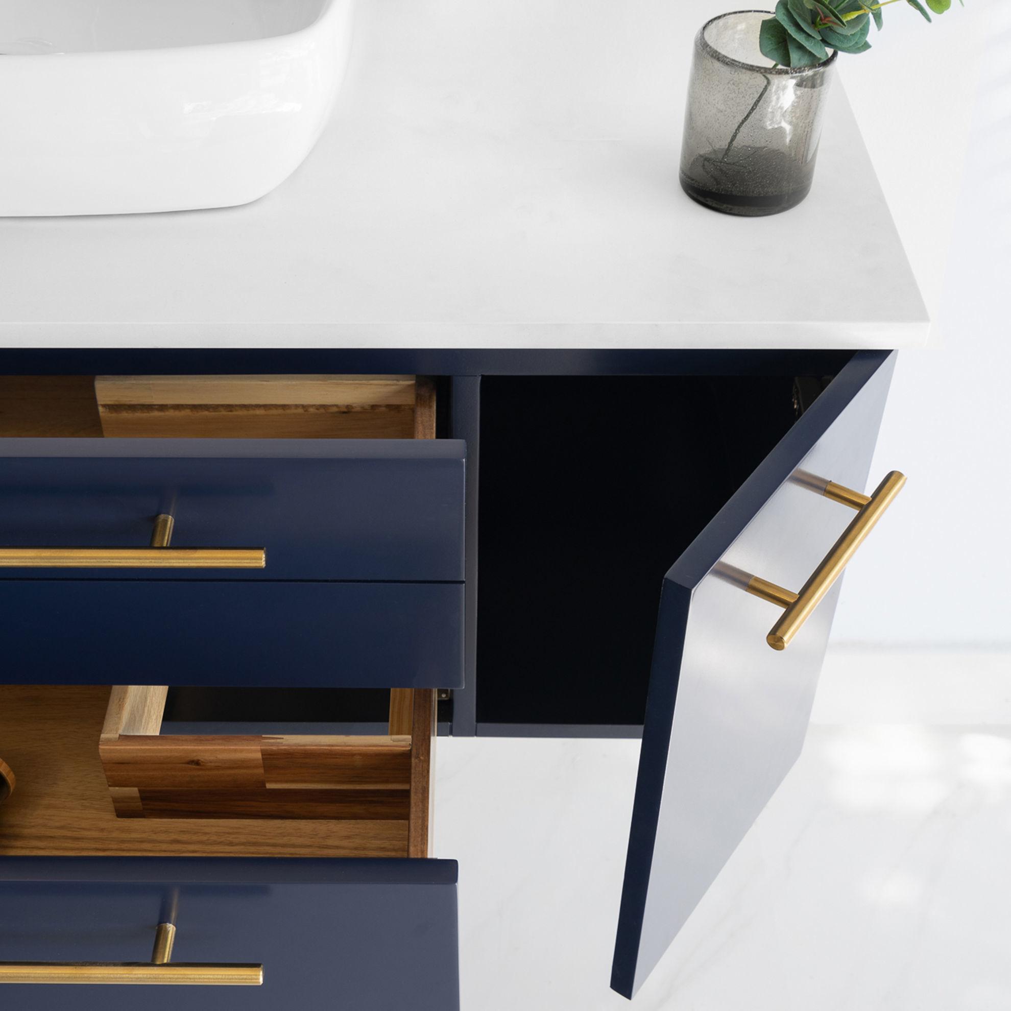 "Picture of Lucera 42"" Royal Blue Wall Hung Vessel Sink Modern Bathroom Vanity w/ Medicine Cabinet"