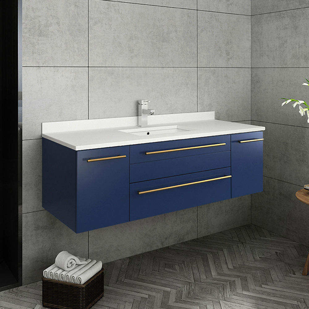 "Picture of Lucera 48"" Royal Blue Wall Hung Undermount Sink Modern Bathroom Vanity w/ Medicine Cabinet"