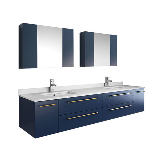 """Picture of Lucera 72"""" Royal Blue Wall Hung Double Undermount Sink Modern Bathroom Vanity w/ Medicine Cabinets"""