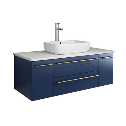 "Picture of Lucera 42"" Royal Blue Wall Hung Modern Bathroom Cabinet w/ Top & Vessel Sink"