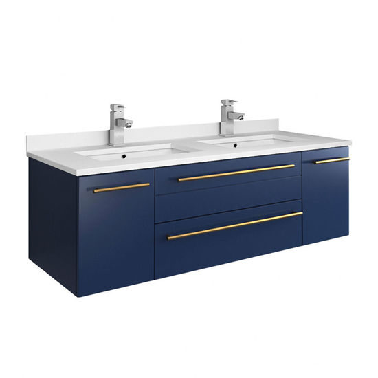 "Picture of Lucera 48"" Royal Blue Wall Hung Modern Bathroom Cabinet w/ Top & Double Undermount Sinks"