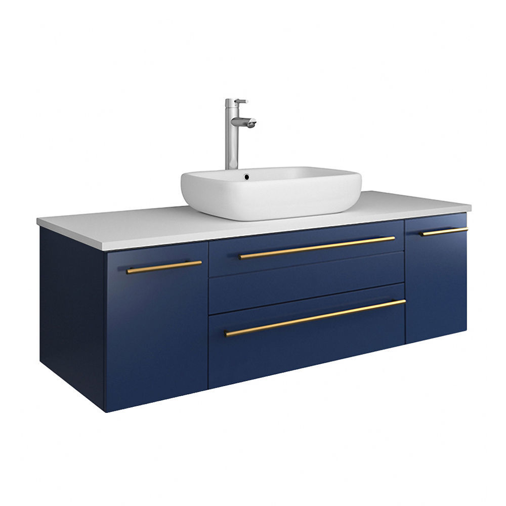 """Picture of Lucera 48"""" Royal Blue Wall Hung Modern Bathroom Cabinet w/ Top & Vessel Sink"""