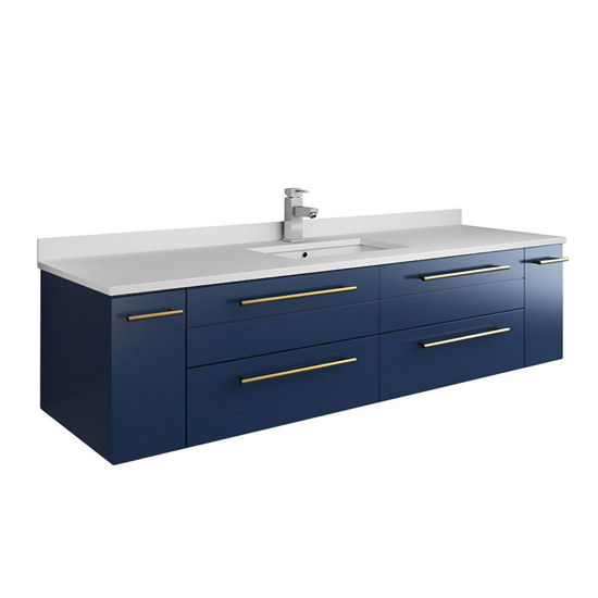 """Picture of Lucera 60"""" Royal Blue Wall Hung Modern Bathroom Cabinet w/ Top & Single Undermount Sink"""