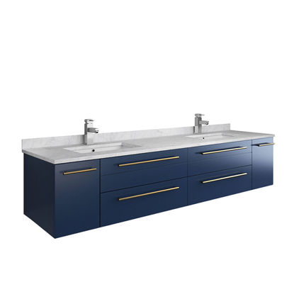 "Picture of Lucera 72"" Royal Blue Wall Hung Modern Bathroom Cabinet w/ Top & Double Undermount Sinks"