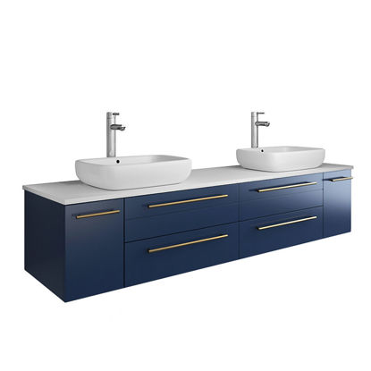"Picture of Lucera 72"" Royal Blue Wall Hung Modern Bathroom Cabinet w/ Top & Double Vessel Sinks"