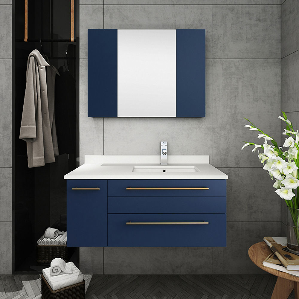 """Picture of Lucera 36"""" Royal Blue Wall Hung Undermount Sink Modern Bathroom Cabinet - Right Version"""